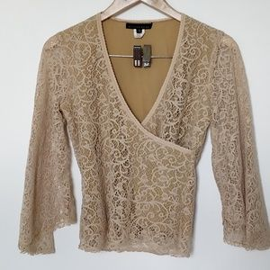 Champagne lace boho top